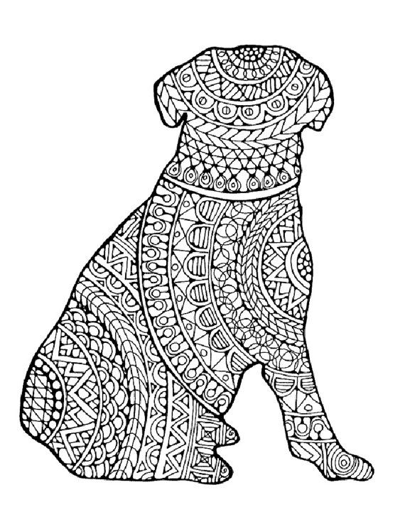 Dog Coloring Page To Print And Color Nature Adult