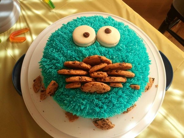 Cookie Monster cake!: Idea, Cookies Monsters Cakes, Kids Birthday, 1St Birthday, Cookies Monsters Parties, First Birthday, Cookies Cakes, Street Parties, Birthday Cakes