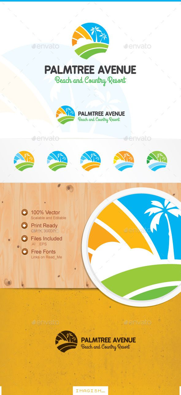 Palm Tree Avenue Logo — Vector EPS #satellite #earth • Available here → https://graphicriver.net/item/palm-tree-avenue-logo/11885887?ref=pxcr