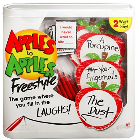 Based on the classic Apples to Apples games, APPLES TO APPLES FREESTYLE CARD GAME adds a twist by allowing players to make up their own answers. So, players can customize the game in every round.    gifts for 11 year old girl | gifts for 10 year old girl | gift ideas for tweens | gift ideas for 10 year old girls | gift ideas for 11 year old girl