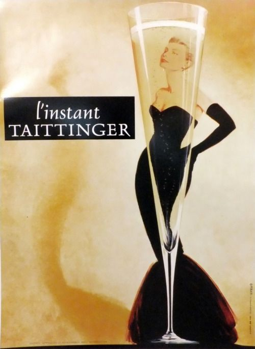 Vintage original advertising poster for Taittinger Champagne featuring Grace Kelly