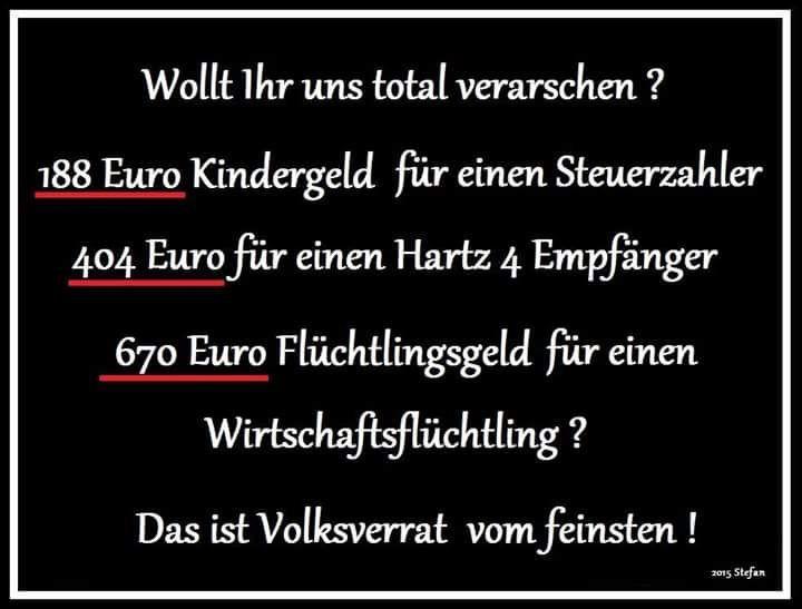 Volksverrat!!! 188 Euro Kindergeld, 404 Euro Hartz IV, 670 Euro Flüchtlingsgeld