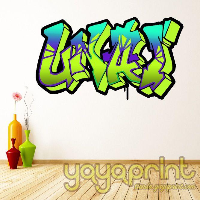 Graffiti de vinilo decorativo para pared con tu nombre - Vinilos con arte ...