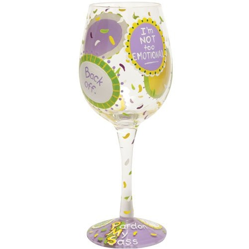 $24.29-$25.99 The PMS wine glass from the Lolita's Love My Wine Collection from Santa Barbara Design has a unique recipe hand painted on the bottom of each glass. Original Lolita Yancey design on a 15-ounce wine glass. A great gift for the wine lover, this popular new shape for wine glasses is appropriate for either red or white wine and is the one widely used in California winery tasting rooms. ...
