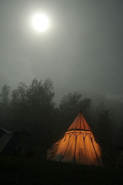 Glowing Moon Unique Tent Foggy Night Photography