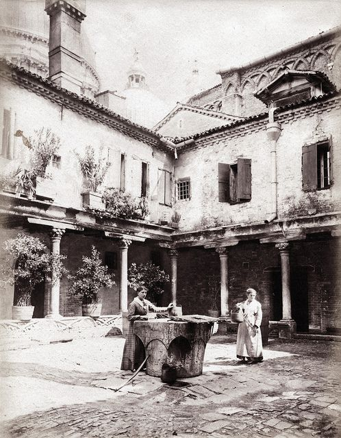 Carlo Naya - Courtyard Abbey of San Gregorio, Venice ca 1870 | Flickr - Photo Sharing!
