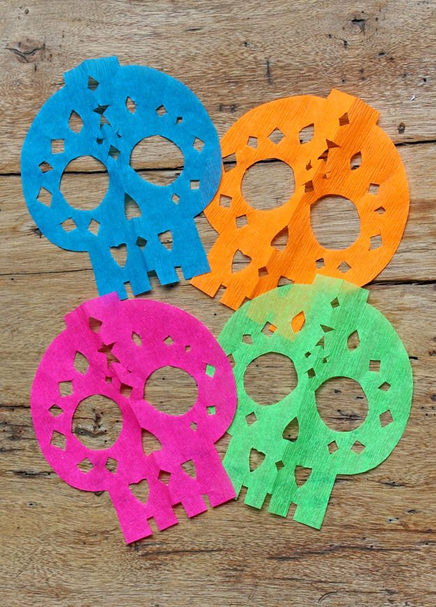 Calavera skulls for papel picado garland tutorial | free printable templates https://happythought.co.uk/craft/papel-picado-calaveras