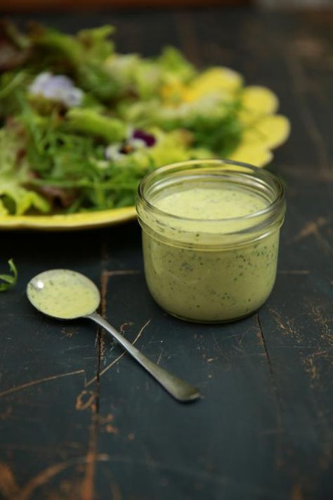 Salad Dressing   500 g fat-free natural yoghurt sea salt freshly ground black pepper 2 teaspoons English mustard a small bunch of green and purple basil or coriander 1 clove of garlic, peeled ½ a fresh red chilli 2 tablespoons white wine or cider vinegar juice of ½ lemon