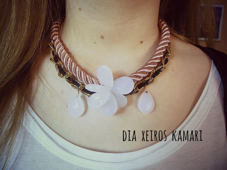 #necklace #handmade #Greece #spring #pink #rope #jewellery #blue #drops