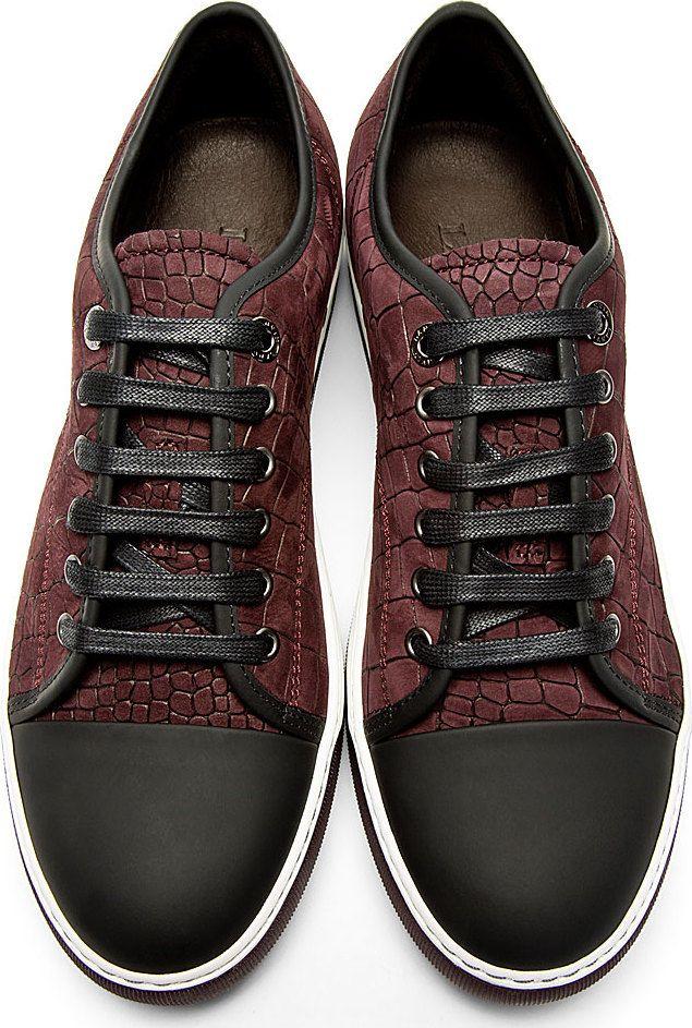 Lanvin: Burgundy Croc-Embossed Suede Sneakers | SSENSE