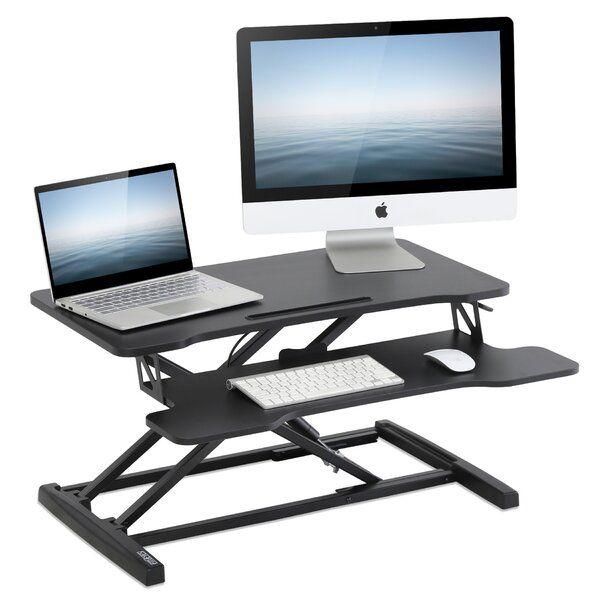 Piscitelli Height Adjustable Standing Desk Converter In 2020 Adjustable Height Standing Desk Adjustable Standing Desk Adjustable Standing Desk Converter