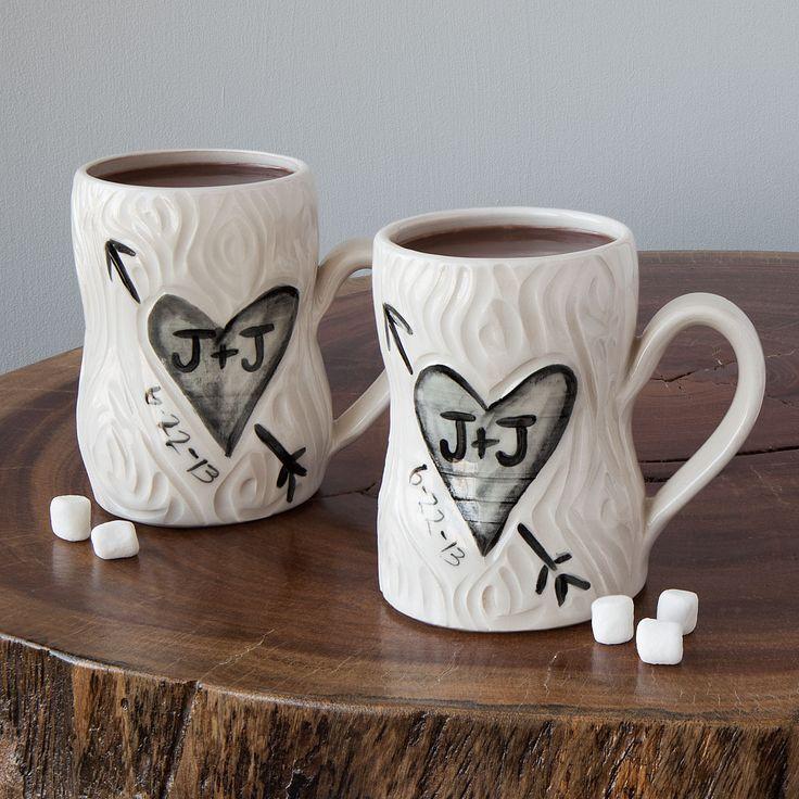 PERSONALIZED PORCELAIN FAUX BOIS MUG SET   Ceramic Coffee Cups   UncommonGoods