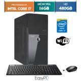 Computador EasyPC Intel Core i7 16GB SSD 480GB Wifi mouse e teclado sem fio -