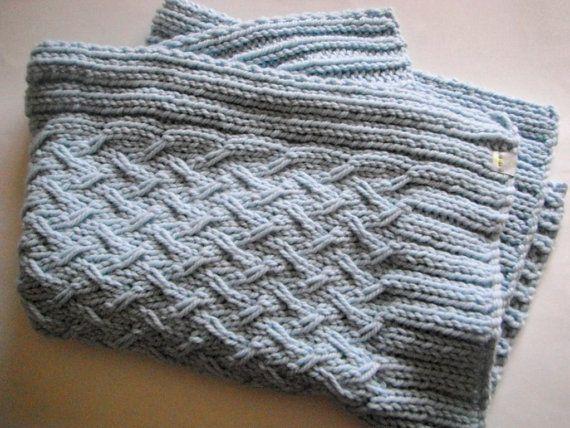 Knit Seed Stitch Baby Blanket : Organic Chunky Merino Wool Baby Blanket - Ready to Ship