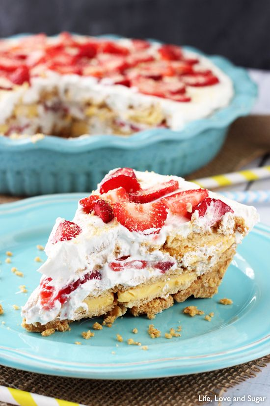 No Bake Strawberry Lemon Cookie Pie from Life Love and Sugar