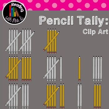 Are you creating resources for your classroom or your TPT store? If you're looking for a simple math clip art, consider these pencil tally marks for numbers 1-10. They are perfect for Back to School themed resources! Both Colour/color and b&w versions are included!