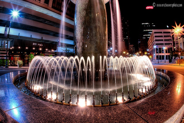 Fountain at 8th and Main surrounded by many Commerce Bank buildings, downtown Kansas City, Missouri.