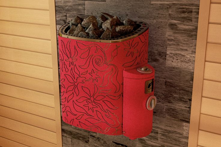 Scandifire heater has a marvelous design. This heater is a red centre of your sauna. Covered with velvet, which just warms up but doesn't burn.  #Design #Sauna #SaunaHeater #Red