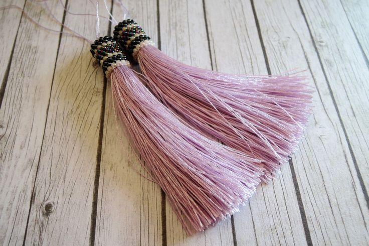 Overige - Roze kralen sieraden zijden kwast boho - Een uniek product van francois2017 op DaWanda