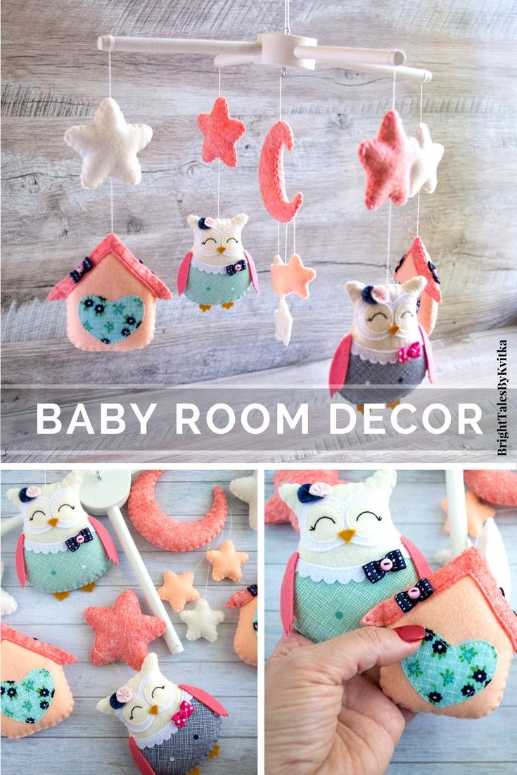 Baby mobile for a coral and navy nursery. For all who loves owls! Cute kids room decoration #babymobile #coral #nurseryideas #brighttalesbykvitka