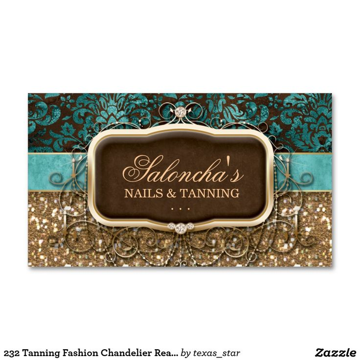 232 Tanning Fashion Chandelier Realtor Damask Glit Double-Sided Standard Business Cards (Pack Of 100)
