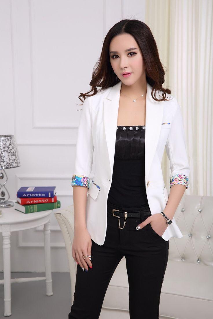 Spring-Summer-Formal-White-Blazer-Women-Jackets-