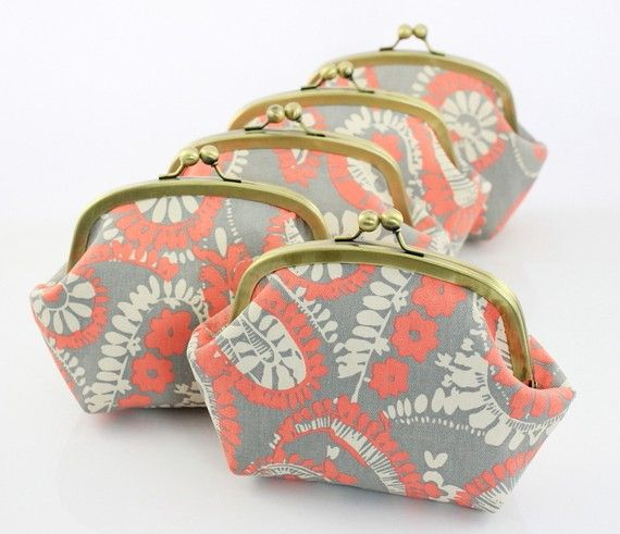 Last Set  Bridesmaid Clutch  Paisley in Coral  6 inches by FA2u, $115.00