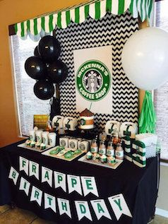 For the coffee addict - Printable Birthday Starbucks themed party decorations