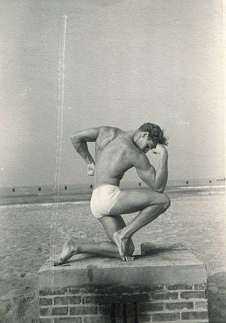 1950s Muscle Bodybuilder Man Muscular Masculine Briefs Cut Speedo Swimsuit Vintage Photo by Christian Montone, via Flickr