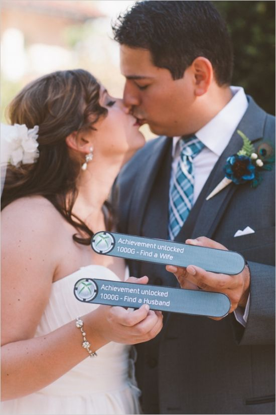 A wedding for the true XBOX gamer.  http://www.weddingchicks.com/2013/09/24/light-pink-and-gray-wedding/