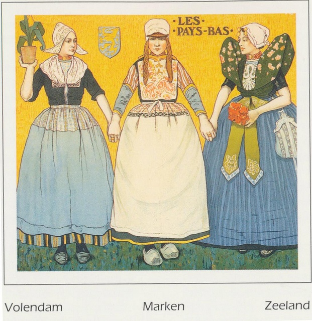 Klederdrachten (Dutch costumes) The Netherlands - by Belgian painter, Henri Cassiers