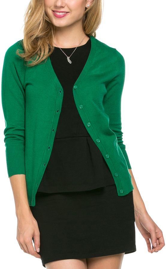 Kelly Green Three-Quarter Sleeve Cardigan