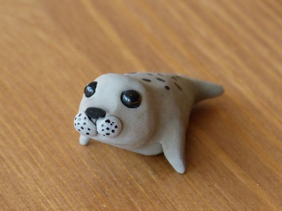 Tiny seal  Handmade miniature polymer clay animal by AnimalitoClay, $25.00