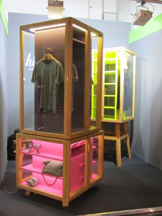 hot pink + yellow + wood--Display cabinet by Hierve Diseñeria