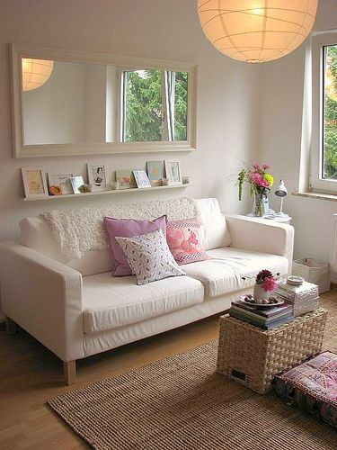 I Like The Idea Of A Mirror Behind Couch It Will Bring In More Light And Also Make Room Look Bigger