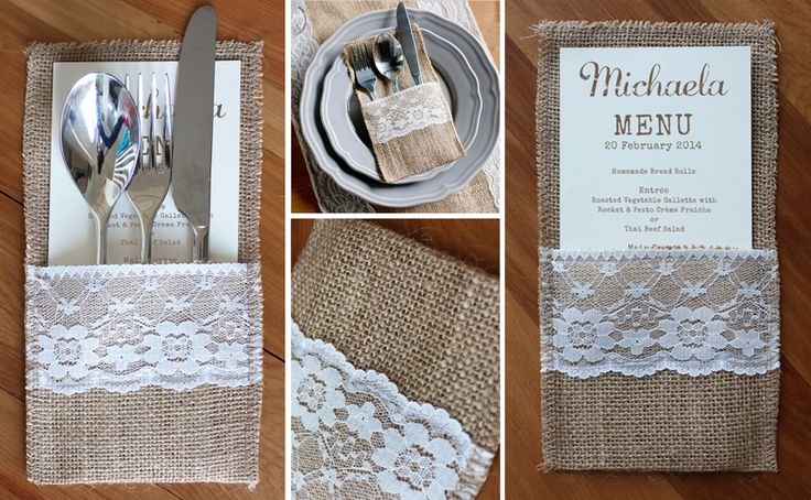 Rustic hessian & lace cutlery pocket - pop a menu in too right?