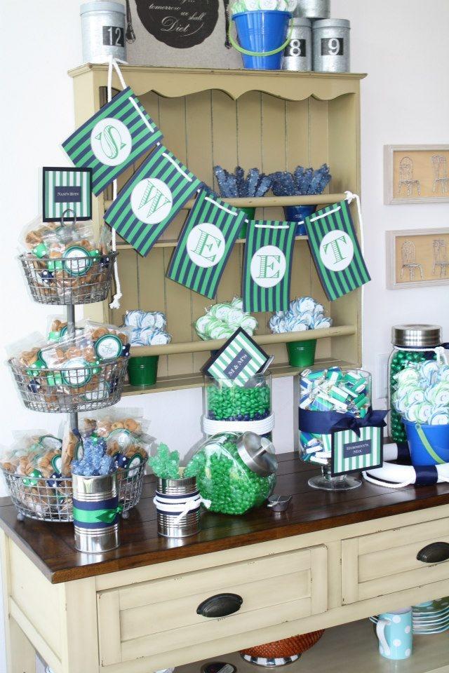 wedding shower candy buffet ideas%0A   Nautical Bridal Shower Sweets Buffet