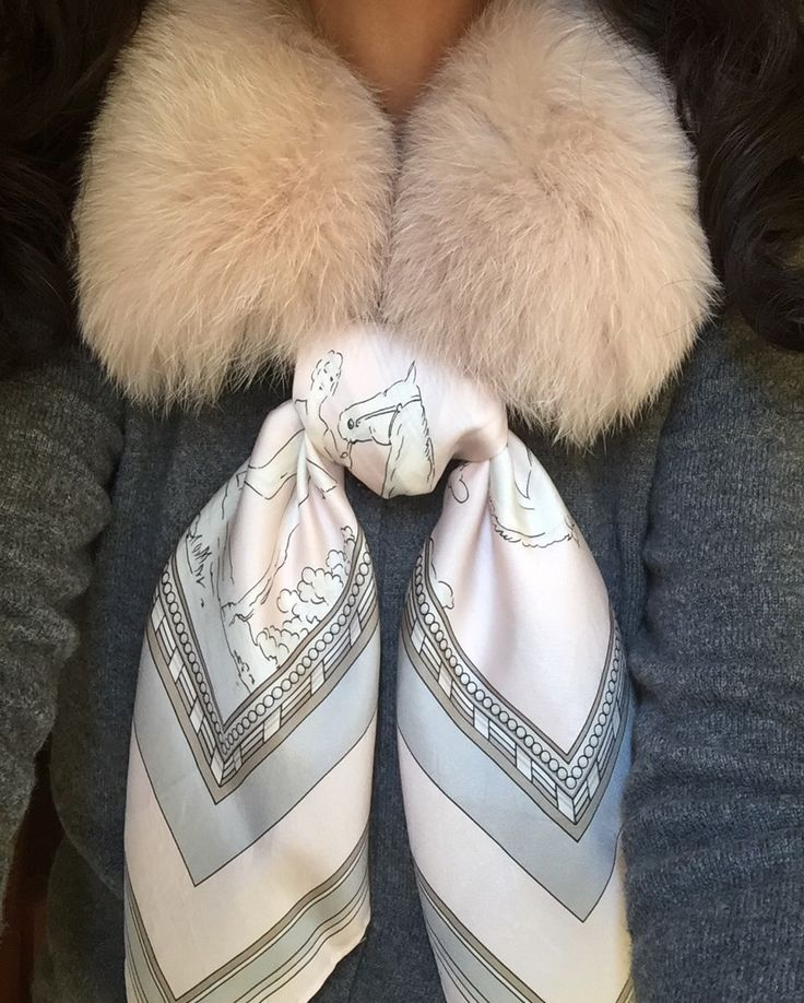 MaiTai fox fur collar in Champagne with Marni cashmere cardigan and Mondi silk scarf