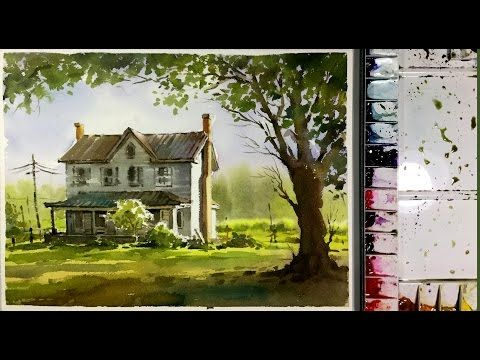 Watercolor Painting Demonstration : Sunlight into garden - YouTube