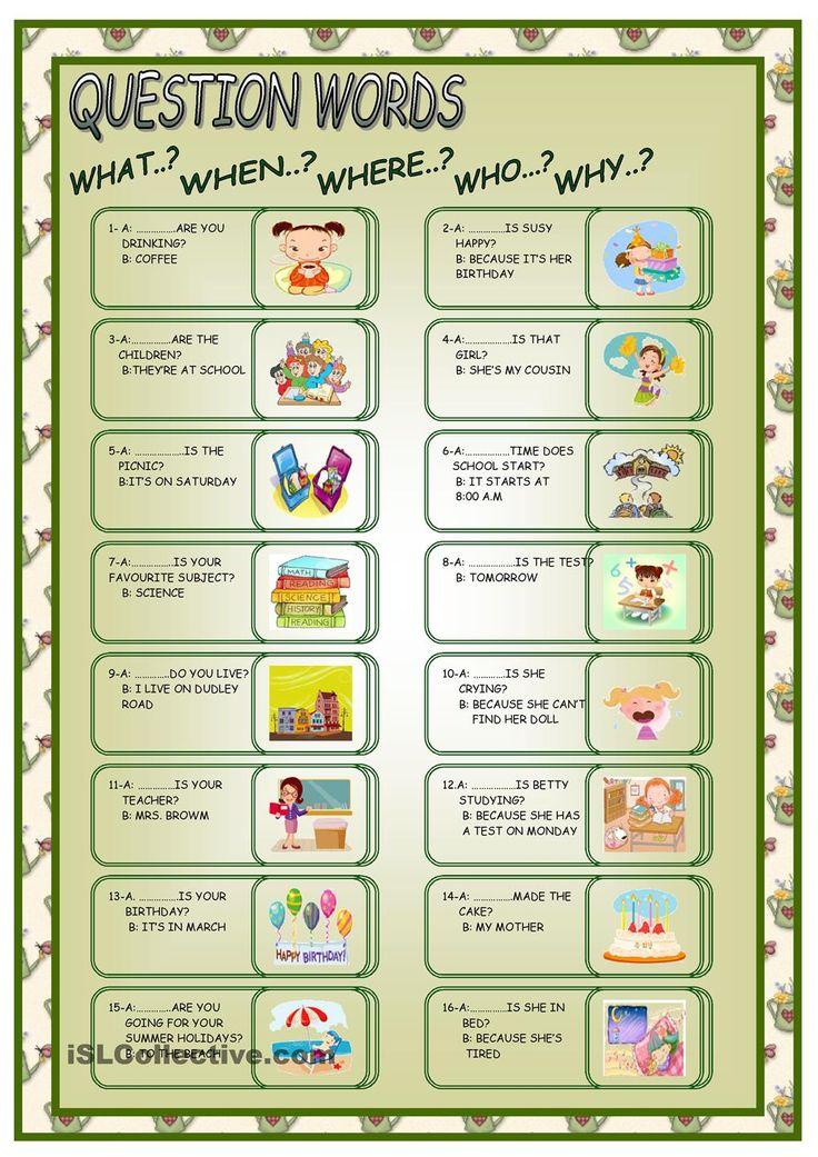 QUESTIONS WORDS | FREE ESL worksheets