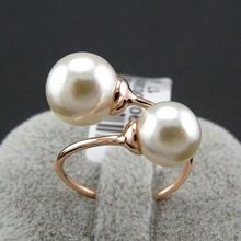 New Sale Real Italina <font><b>Rings</b></font> for women 18K Rose gold Plated simulated <font><b>pearl</b></font> <font><b>Rings</b></font> Fashion Anti Allergies Rose Gold #RG96902