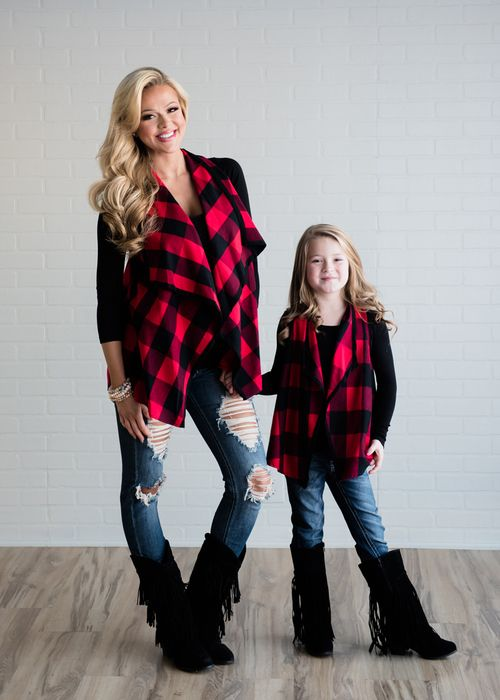 Little Girls Black and Red Checkered Vest. Ryleigh Rue Clothing. Mommy and Me Matching Outfits. Online Shopping. Online Boutique. Fashion.