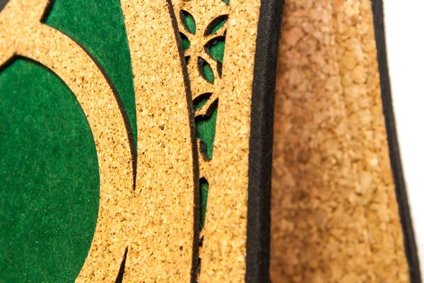 "Detail of eco-friendly bag ""Farfalla"" made with recycled cork and paper, via Behance"