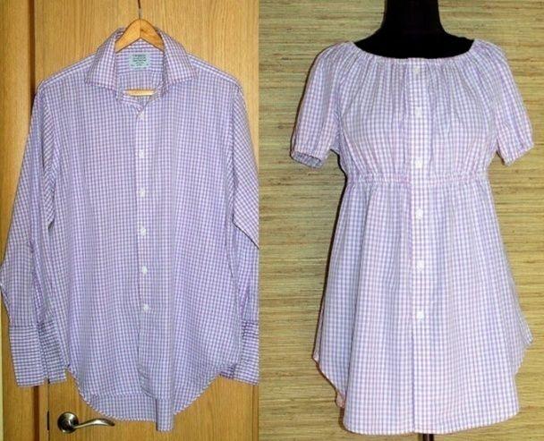 переделки, мастер-класс, как переделать мужскую рубашку, как сшить блузку для беременной