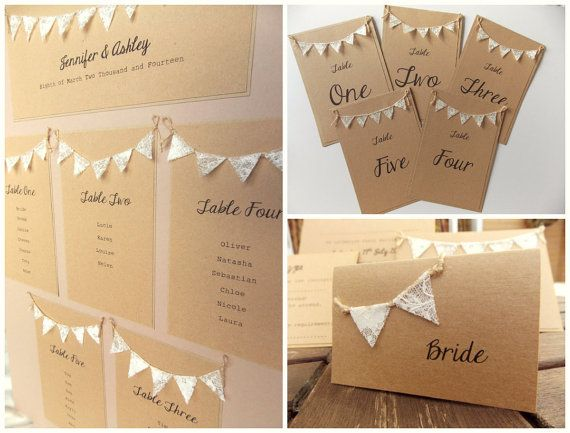 Rustic wedding stationery, table plan, table numbers, table place cards. Rustic wedding, lace bunting
