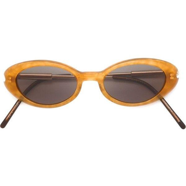 Yohji Yamamoto Vintage Oval Frame Sunglasses (£275) ❤ liked on Polyvore featuring accessories, eyewear, sunglasses, glasses, brown, brown glasses, vintage sunglasses, brown sunglasses, oval sunglasses and dark tinted sunglasses
