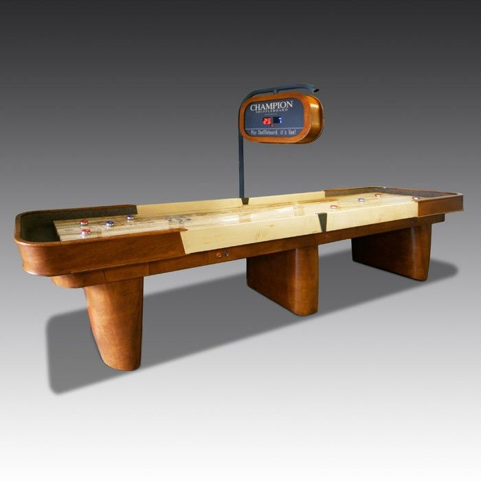 The Texan-made Capri is one of the most popular of all Shuffleboard tables, constructed from maple wood with a rich honey stain finish. Its beautiful design is embodied in stylish curved wood and a sleek grey inlay. The maple playfield is coated in polymer, which keeps the game consistently quick and exciting.