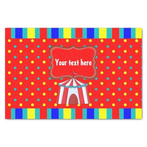 """Kids Circus Party Personalized 10"""" X 15"""" Tissue Paper"""
