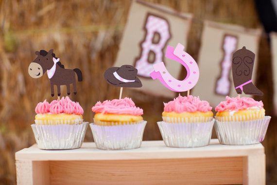 Toppers Cupcake cow-girl Set de 12 Giddy Up poney par EMTsweeetie