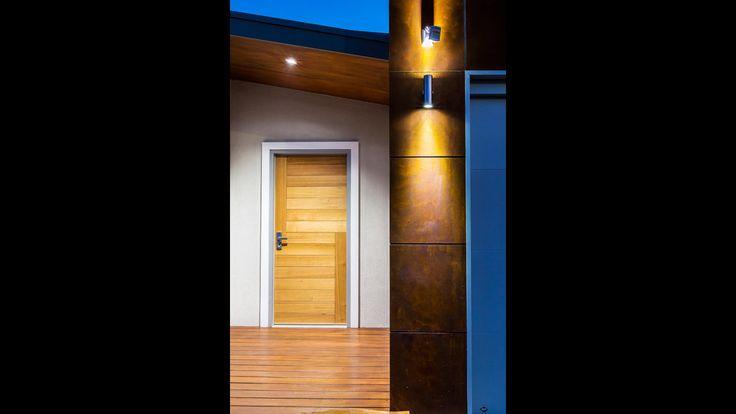 James Hardie Scyon Matrix, main entrance, external wall lighting, timber front entrance door, architecture